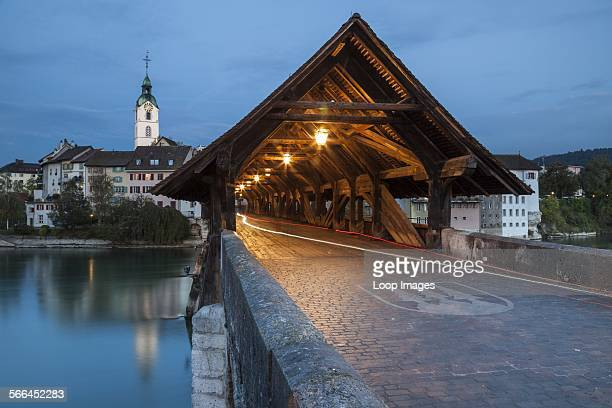 Covered bridge over Aare river in Olten at dawn