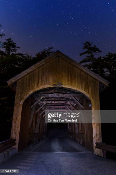covered bridge stars, windham, maine - covered bridge stock photos and pictures