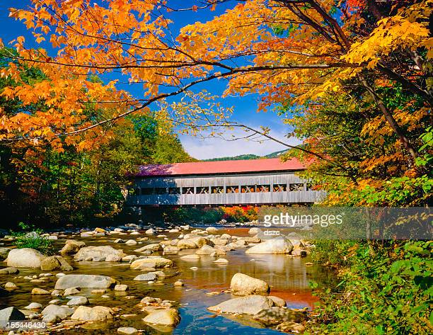 covered bridge, stream, autumn, hew hampshire - covered bridge stock pictures, royalty-free photos & images