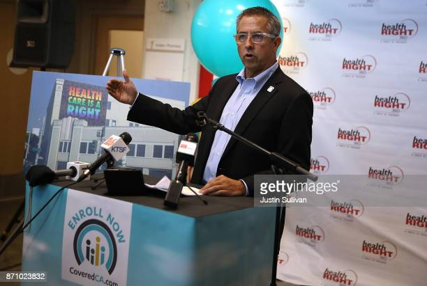 Covered California executive director Peter V Lee speaks during a news conference at HealthRIGHT 360 on November 6 2017 in San Francisco California A...