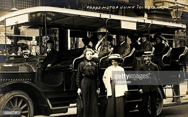 A covered charabanc travelling from Ilfracombe to Lynton North Devon on 10th June 1912