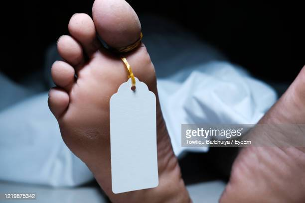 covered dead body of a person in the morgue with a tag attached to the toe - suicide stock pictures, royalty-free photos & images
