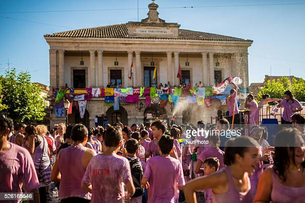 Covered in wine revelers enjoy the Batalla del Vino in Toro on August 24 2015 Toro a small village of Spain known for having Toro wine appellation...