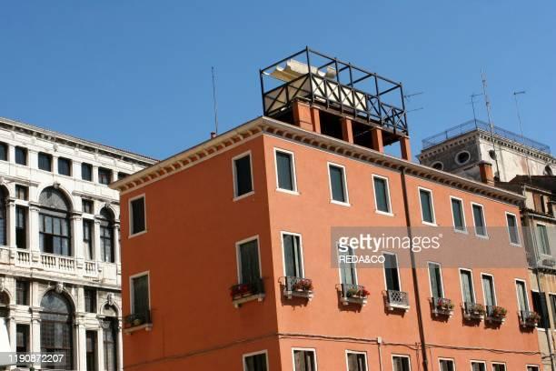 Covered roofterrace in Campo Santo Stefano Venice Veneto Italy
