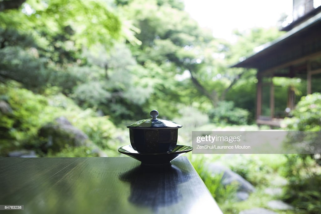 Covered tea cup and saucer on table, Japanese garden in background : Stock Photo