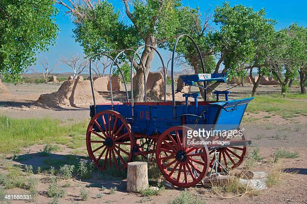 Covered wagon at ruins Fort Selden NM along the Camino Real established 1865