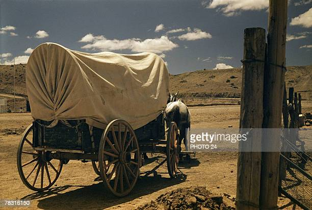 Covered wagon drawn by horse