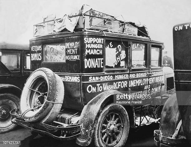 Covered Wagon For The Army Of The Hunger Marchers At Cincinnati In Ohio On December 2Nd 1932