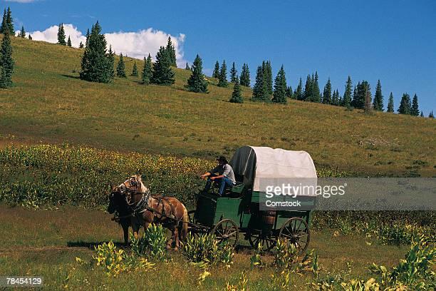 Covered wagon going through meadow in Colorado