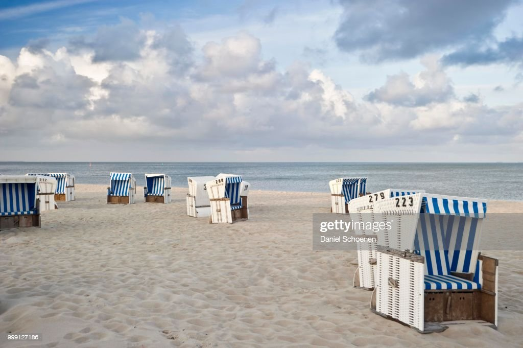 Covered Wicker Beach Chairs On The Num Sylt Island Schleswig Holstein