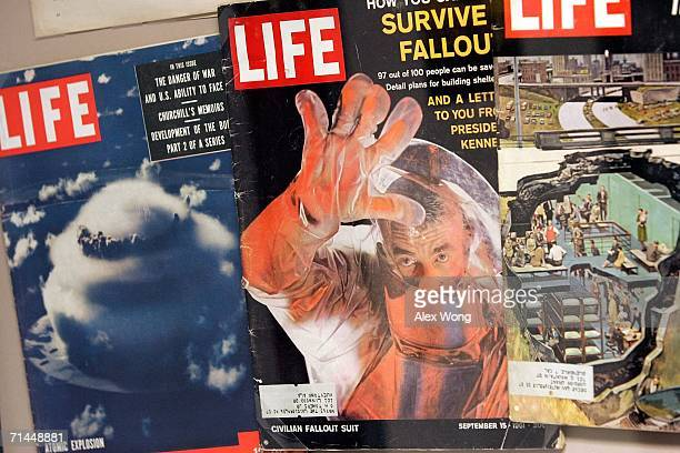 Covers of past issues of Life Magazine featuring nuclear bomb and protections are seen on display at a former government relocation facility also...