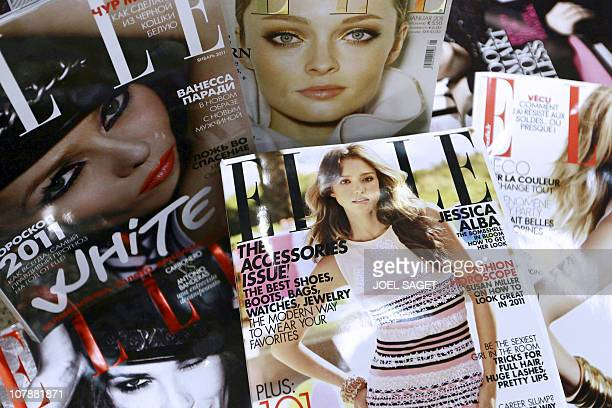 Covers of some of the 42 foreign editions of the French fashion magazine 'Elle' owned by French media conglomerate Lagardere are displayed on January...