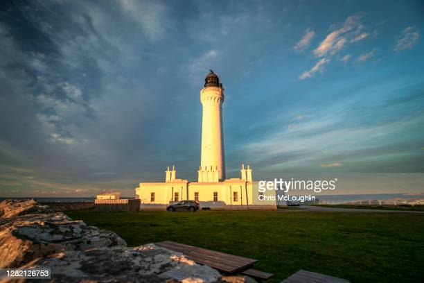 covesea skerries lighthouse - grampian scotland stock pictures, royalty-free photos & images