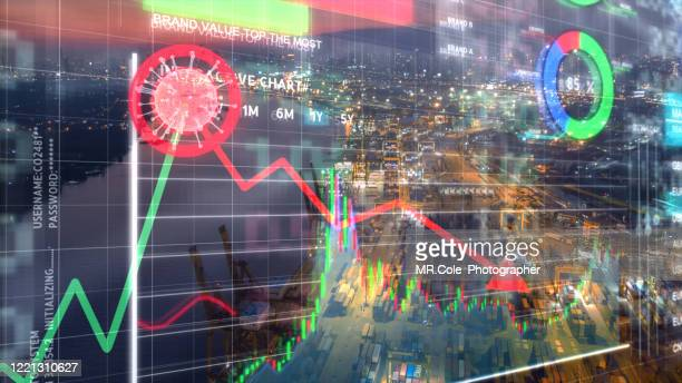 covid -19 financial market concepts,business financial and transportation concept - 株価暴落 ストックフォトと画像