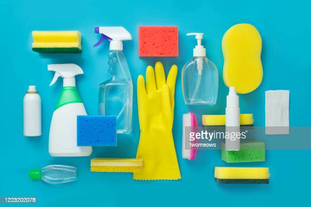 covid 19 medical and disinfection cleaning products. - housework stock pictures, royalty-free photos & images