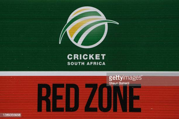 Covid sign hangs on the gates of Newlands the Ist One Day International between South Africa and England at Newlands Cricket Ground on December 04,...
