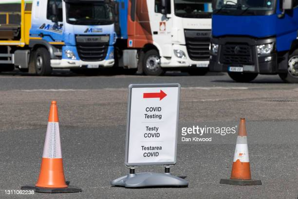 Covid testing station at a motorway service station on April 06, 2021 in Westerham, England. From today, lorry drivers arriving from abroad who are...