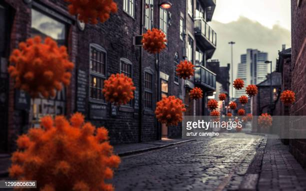 covid virus invading the streets, 3d illustration - epidemic stock pictures, royalty-free photos & images