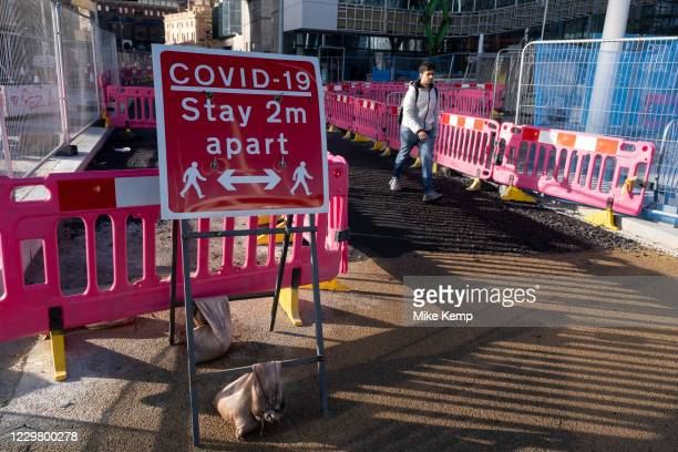 Covid-19 stay 2m apart sign in the City Centre on the day it was announced that Birmingham would be placed in tier three for very high alert level of...