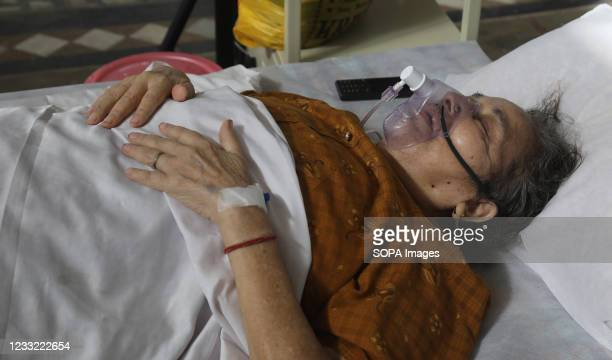 Covid-19 suspected patient seen wearing an oxygen mask at the covid-19 care center. All 38 Jewish people from Manipur supposed to leave for Israel...