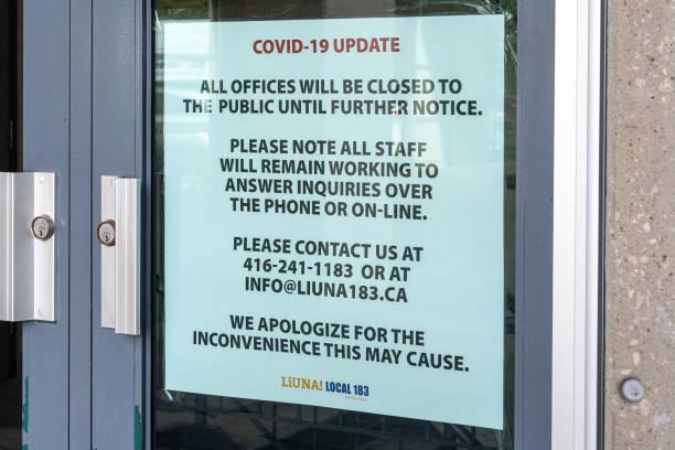 Covid-19 Update Sign, Toronto, Canada