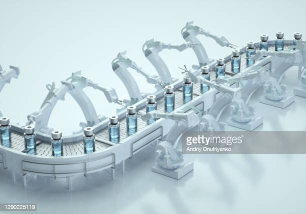 covid-19 vaccine production line. - business finance and industry stock pictures, royalty-free photos & images