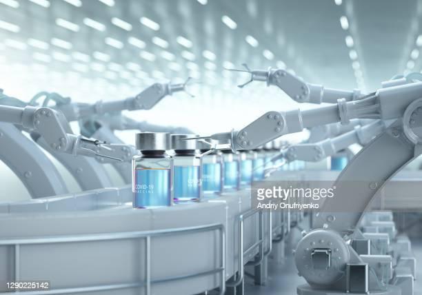 covid-19 vaccine production line. - コンベヤーベルト ストックフォトと画像