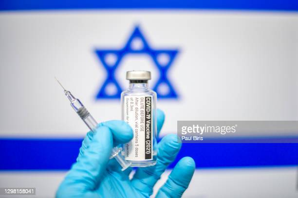 covid-19 vaccine with syringe and israeli flag image in the background, coronavirus sars-cov-2, vaccination - israel stock pictures, royalty-free photos & images