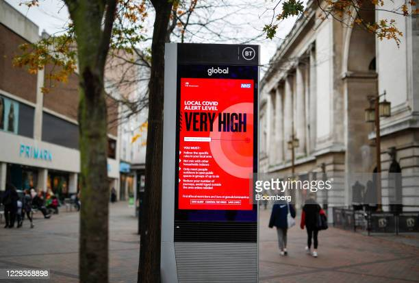 Covid-19 warning sign as the city heads into the highest level of coronavirus restrictions, in Nottingham, U.K., on Friday, Oct. 30, 2020. U.K. Prime...