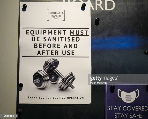 Covid-related signage at the St Michael's Health Club as the club prepared to welcome back fitness enthusiasts after the second Covid lockdown on...