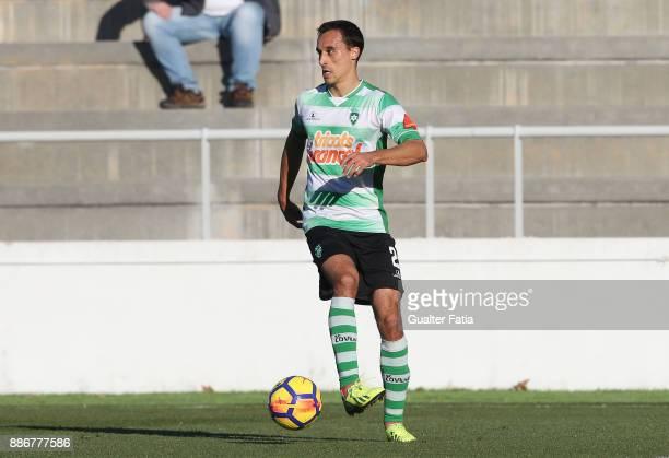 Covilha defender Joao Dias from Portugal in action during the Segunda Liga match between CD Cova da Piedade and SC Covilha at Estadio Municipal Jose...