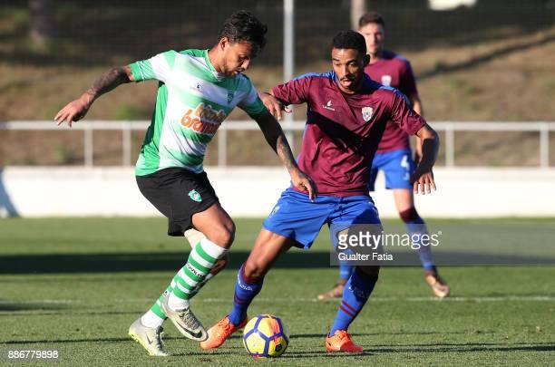 Covilha forward Erivelto from Brazil with CD Cova da Piedade midfielder Soares from Brazil in action during the Segunda Liga match between CD Cova da...