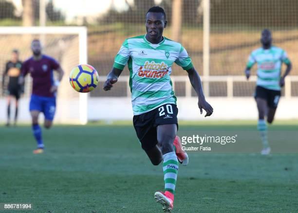 Covilha forward Sodiq Fatai from Nigeria in action during the Segunda Liga match between CD Cova da Piedade and SC Covilha at Estadio Municipal Jose...