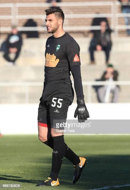 Covilha goalkeeper Igor Rodrigues from Portugal in action during the Segunda Liga match between CD Cova da Piedade and SC Covilha at Estadio...