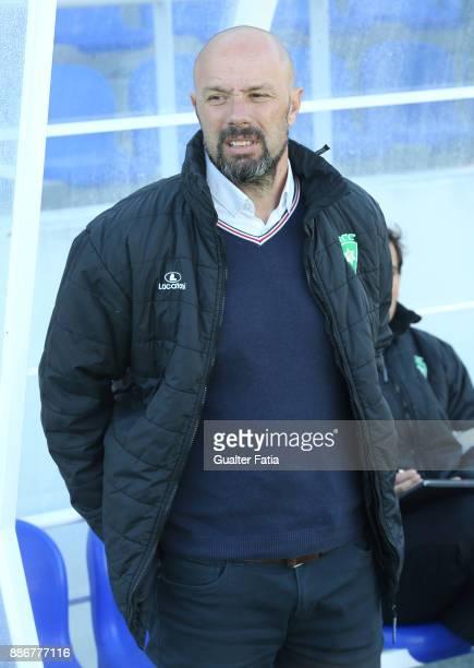 Covilha head coach Jose Augusto before the start of the Segunda Liga match between CD Cova da Piedade and SC Covilha at Estadio Municipal Jose...