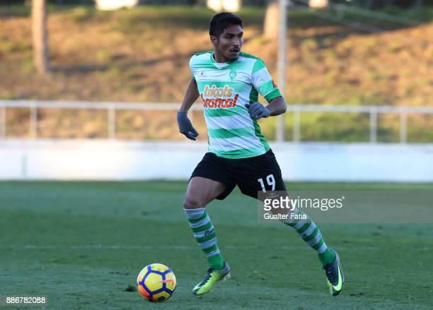 Covilha midfielder Índio from Brazil in action during the Segunda Liga match between CD Cova da Piedade and SC Covilha at Estadio Municipal Jose...