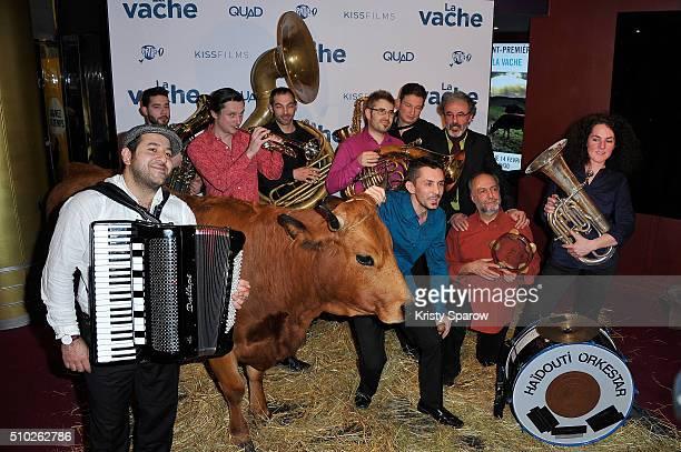 A cow attends the La Vache Paris Premiere at Pathe Wepler on February 14 2016 in Paris France