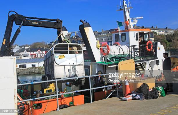 Cow being unloaded from Cape Clear ferry Baltimore harbor County Cork Ireland Irish Republic