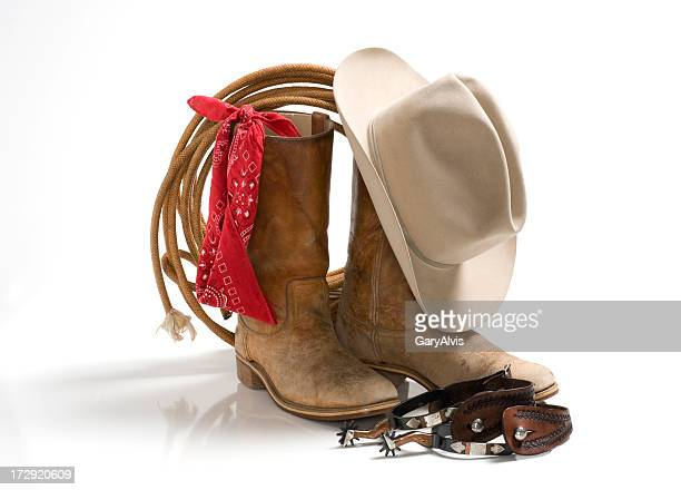 cowboy accessories, hat,boots,spur,rope,bandana-isolated on white - cowboy hat stock pictures, royalty-free photos & images