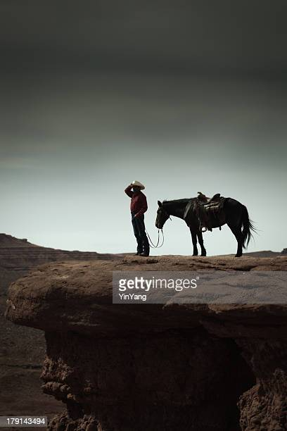 Cowboy and Horse in the American Southwest Landscape Vertical