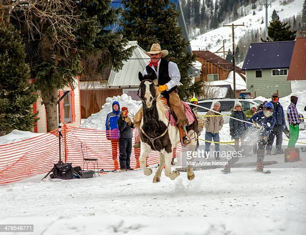 CONTENT] Cowboy and skier begin the skijoring race held in Silverton Colorado This is a yearly event bring in many spectators to an otherwise quiet...