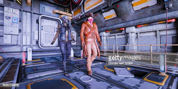 cowboy and woman wearing masks on spaceship - spaceship stock photos and pictures