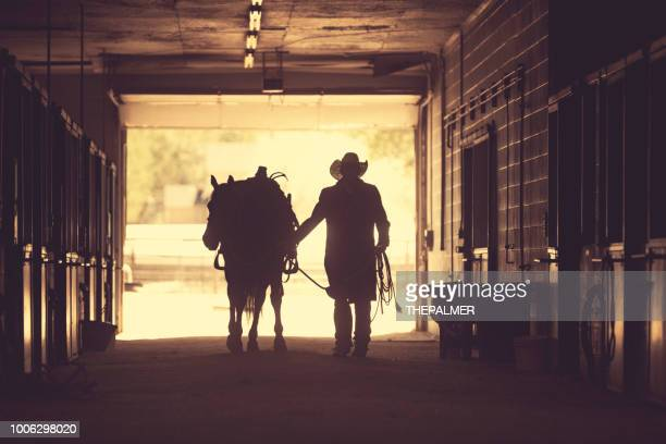 cowboy at a horse stable - ranch stock pictures, royalty-free photos & images