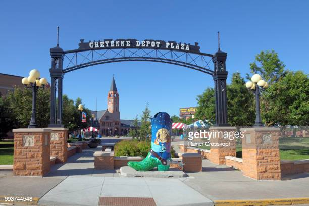 cowboy boot on cheyenne depot plaza - rainer grosskopf stock pictures, royalty-free photos & images
