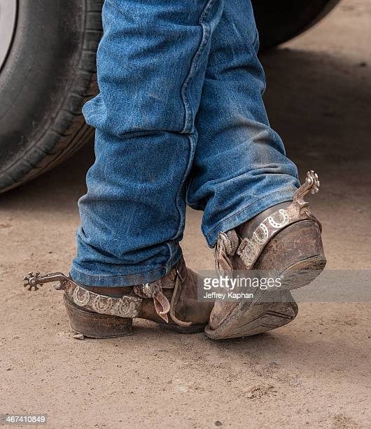 Cowboy boots with fancy spurs standing in dirt. The spurs have lucky horseshoes on them.