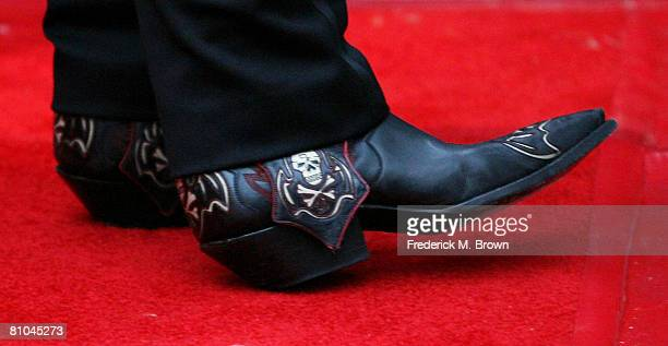 Cowboy boots worn by recording artist Alice Cooper attending the fourth annual MusiCares Benefit Concert at The Music Box at Fonda on May 9 2008 in...