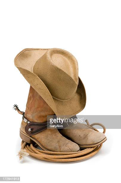 Cowboy boots,hat,spurs & lasso-isolated on white