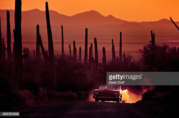 cowboy cadillac in desert by kevin cruff - arizona stock pictures, royalty-free photos & images