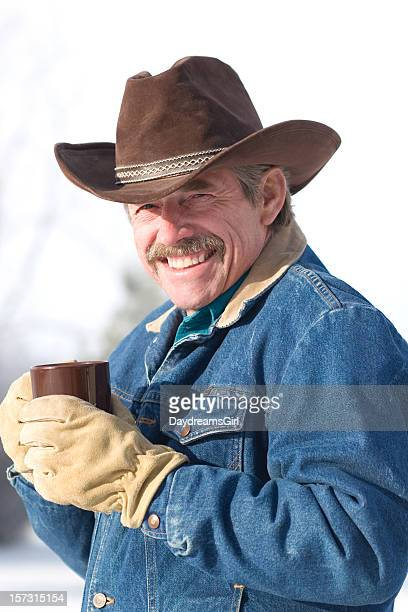 cowboy coffee with a smile - beige glove stock photos and pictures