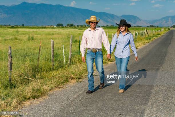 Cowboy Cowgirl Love Couple Holding Hands
